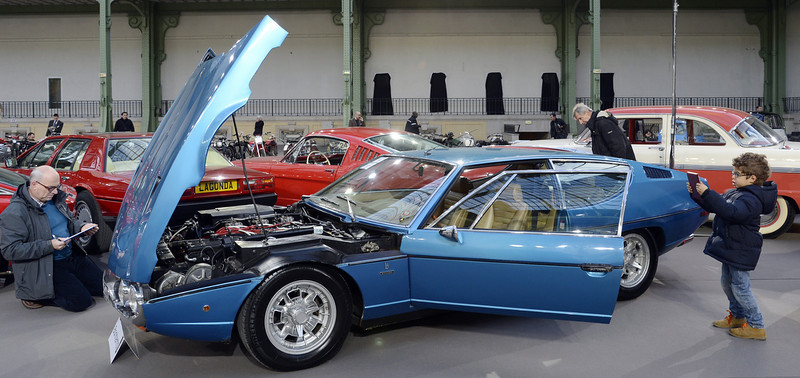 . A Lamborgini Espada (1970) is pictured as luxury vintages cars are displayed at an auction at the Grand Palais on February 6, 2013 in Paris. 125 vintage motor cars, 100 collection motorbikes and a 1920\'s Gipsy Moth plane by De Havilland, will be presented at the Bonhams auction on February 7.  BERTRAND GUAY/AFP/Getty Images