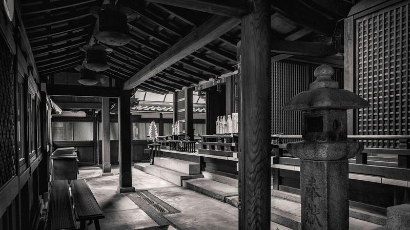 Inside a Sinto Shrine in Kyoto.