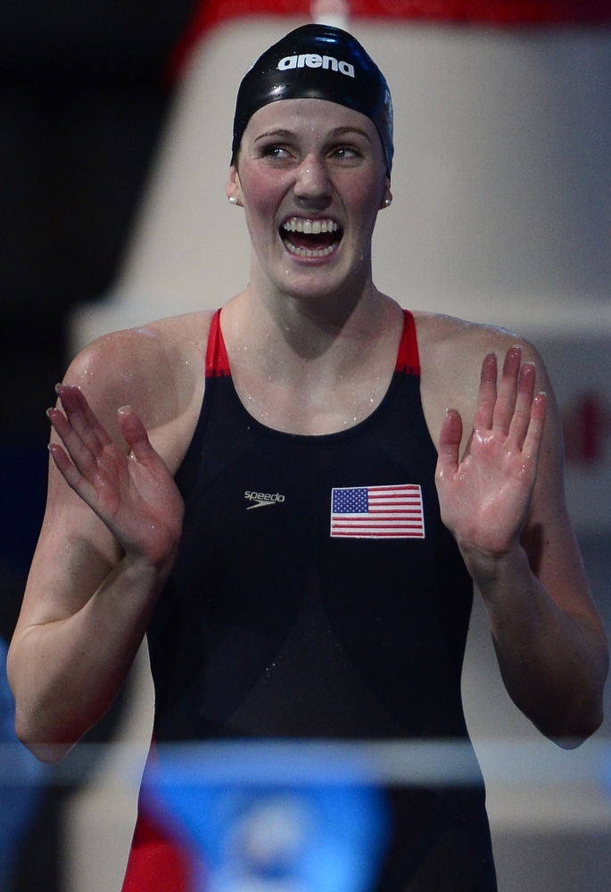 . US swimmer Missy Franklin celebrates after winning the final of the women\'s 4x100-metre medley relay swimming event in the FINA World Championships at Palau Sant Jordi in Barcelona on August 4, 2013.  JAVIER SORIANO/AFP/Getty Images
