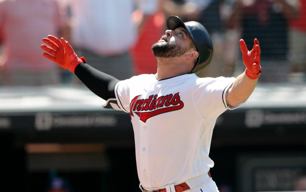 . Cleveland Indians\' Yonder Alonso looks up after hitting a two-run home run off Pittsburgh Pirates relief pitcher Felipe Vazquez in the eighth inning of a baseball game, Wednesday, July 25, 2018, in Cleveland. Jose Ramirez scored on the play. The Indians won 4-0. (AP Photo/Tony Dejak)
