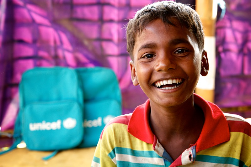 0180-0181Abdur Rahman, a 12-year-old Rohingya refugee child, poses for photograph inside the UNICEF-supported Seabird Learning Centre at the Balukhali makeshift settlement in Ukhia, Cox's Bazar, Bangladesh.     Photo: UNICEF / b.a.sujaN/Map