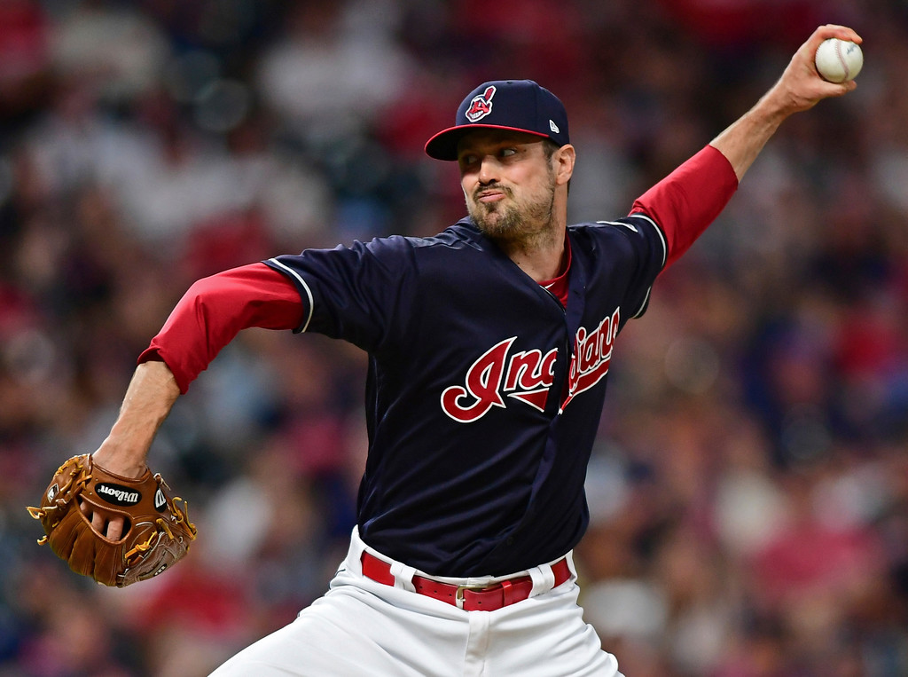 . Cleveland Indians relief pitcher Andrew Miller delivers during the seventh inning of the team\'s baseball game against the Houston Astros, Friday, May 25, 2018, in Cleveland. (AP Photo/David Dermer)