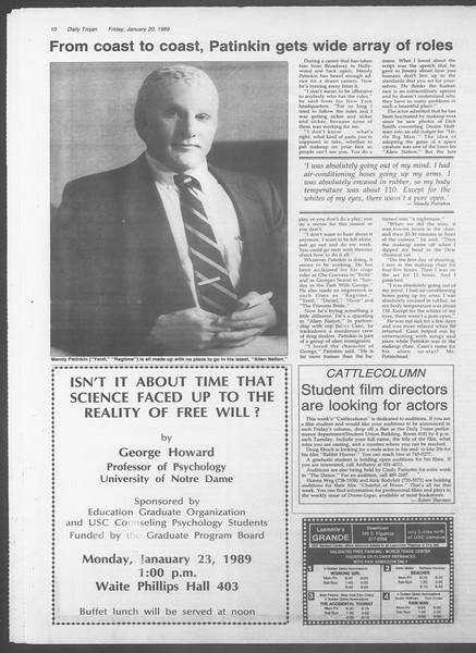 Daily Trojan, Vol. 108, No. 6, January 20, 1989