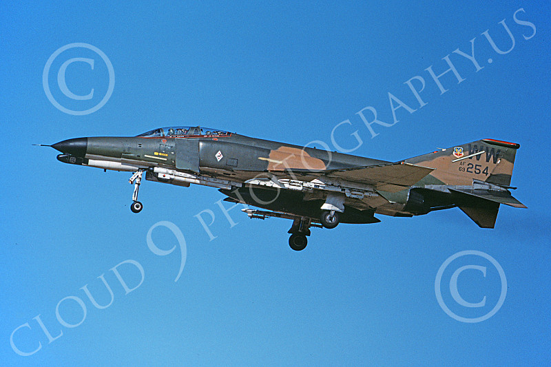 F-4USAF 00456 A landing McDonnell Douglas F-4G Phantom II USAF 69254 Wild Weasel 37th TFW WW code 8-1982 military airplane picture by Michael Grove. Sr..JPG