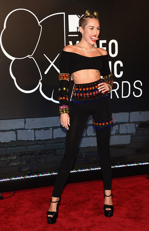 . Miley Cyrus attends the 2013 MTV Video Music Awards at the Barclays Center on August 25, 2013 in the Brooklyn borough of New York City.  (Photo by Jamie McCarthy/Getty Images for MTV)