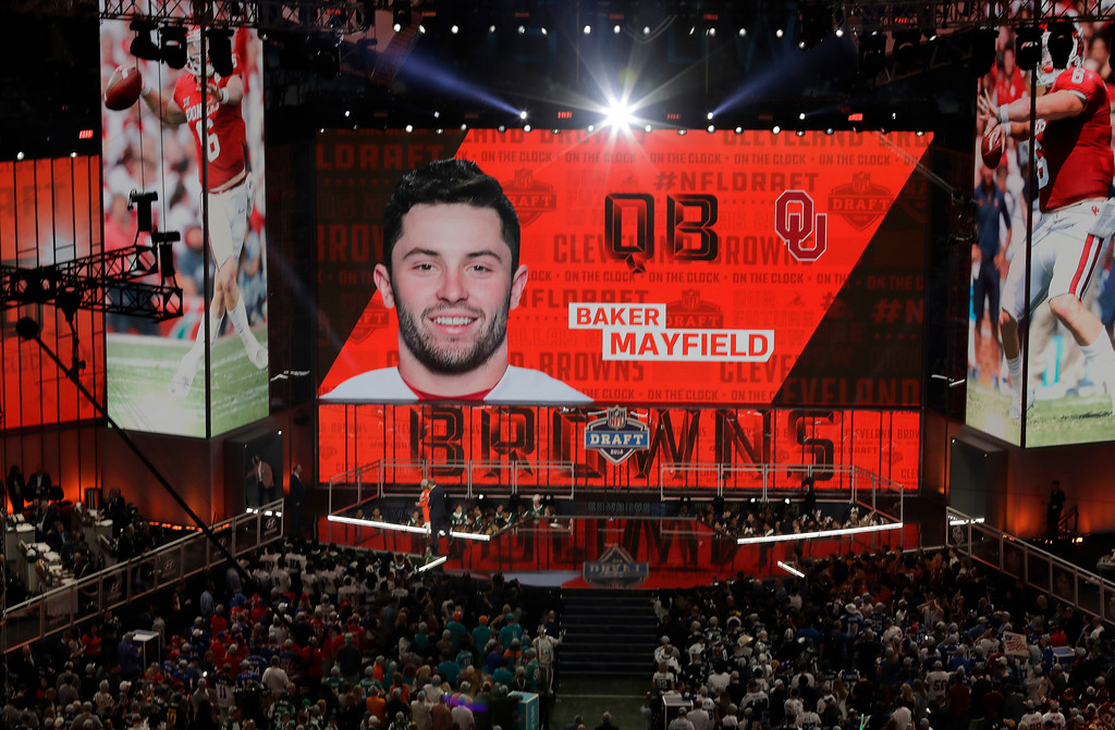 . The Cleveland Browns select Oklahoma\'s Baker Mayfield during the first round of the NFL football draft, Thursday, April 26, 2018, in Arlington, Texas. (AP Photo/Eric Gay)