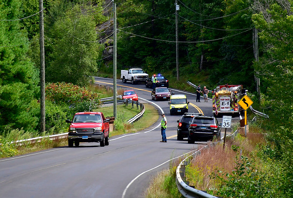 9/5/2019 Mike Orazzi | StaffrThe scene of a single vehicle crash on Greystone Road in Plymouth sending the sole occupant to area hospital with non-life threatening injuries on Thursday afternoon.
