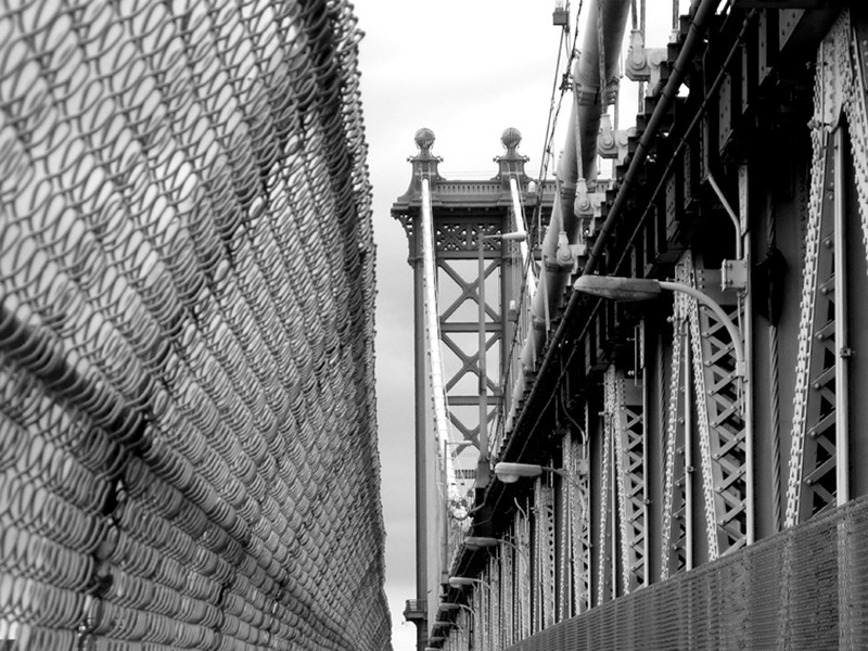 Manhattan Bridge with Chain Link b&w.jpg