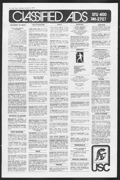 Daily Trojan, Vol. 87, No. 11, October 01, 1979