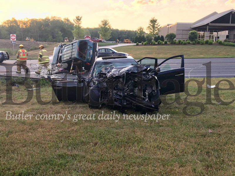 Volunteer firefighters respond to two-vehicle crash on Route 8 in Penn Township that left both drivers seriously injured.