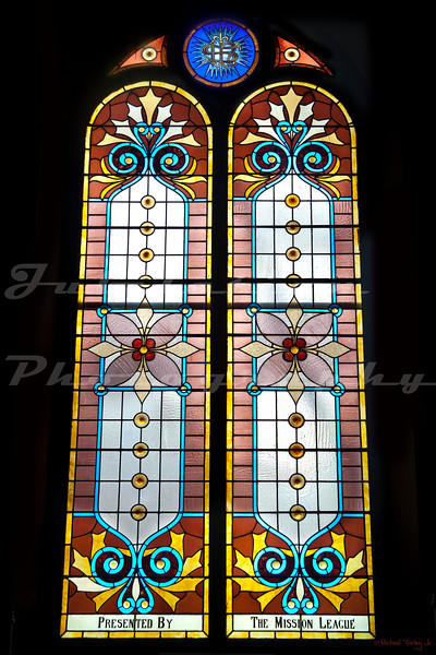 The original stained glass window in the original portion of St James Lutheran Church in Portland, OR.