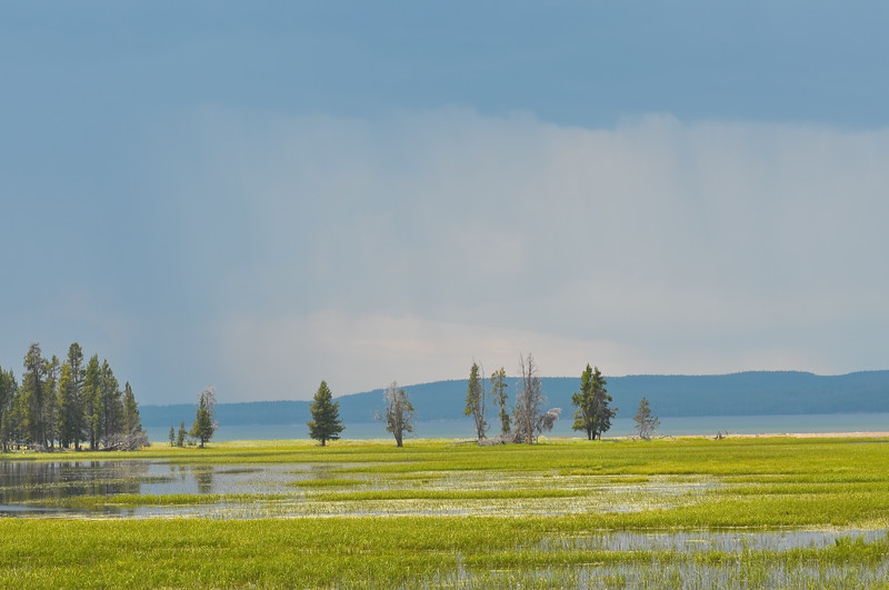 East side of Yellowstone Lake with rain approaching