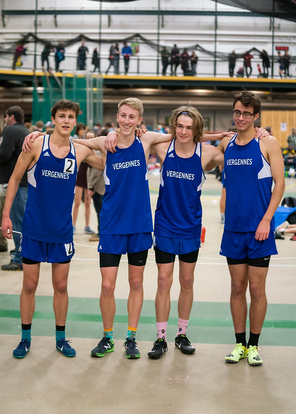 After the 4x800 race (from left): Ben Huston (junior), Gabe Praamsma (junior), Jarret Muzzy (junior) and Eric Reitz (senior). VUHS takes home first place while setting an event record with a time of 8:42.92 in the Boys 4x800 relay. Vermont Division II Indoor Track State Championships - UVM Gutterson Field House - 2/16/2020/2020