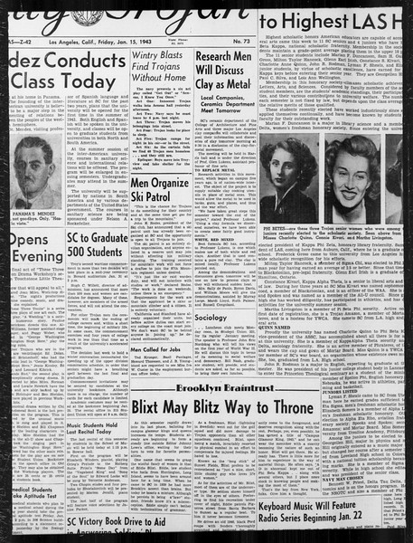 Daily Trojan, Vol. 34, No. 73, January 15, 1943