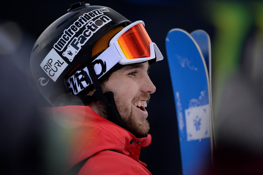 . ASPEN, CO - JANUARY 25: Gold medalist Simon d\'Artois during the men\'s ski half pipe final. Winter X Games on Sunday, January 25, 2015. (Photo by AAron Ontiveroz/The Denver Post)