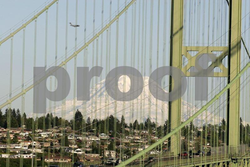Tacoma Narrows Bridge in Tacoma, Washington with Mt. Rainier in the background.