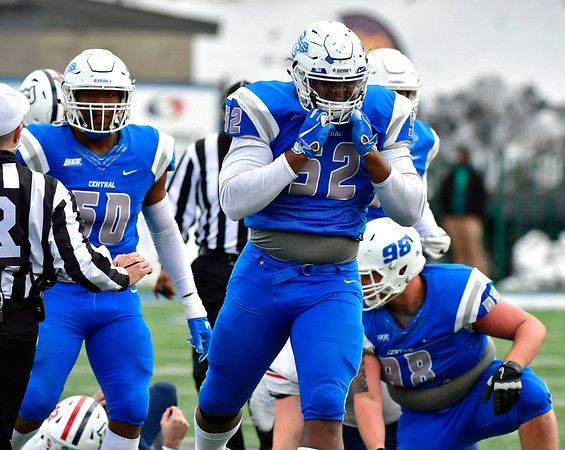 11/17/2018 Mike Orazzi | Staff CCSU's Brandon Puritt (52) at Arute Field in New Britain Saturday afternoon.