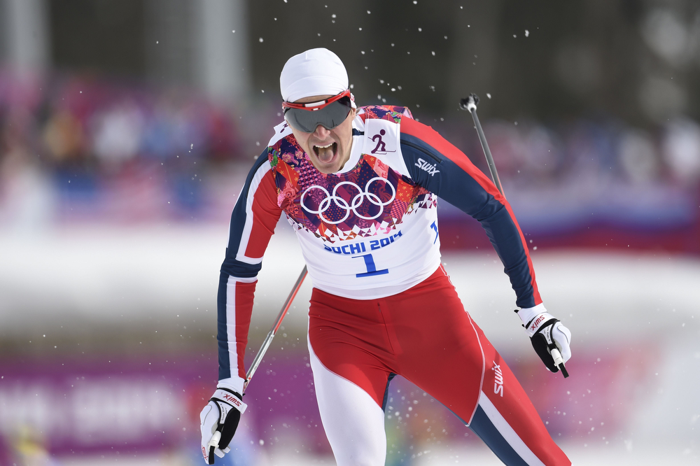 . Norway\'s Ola Vigen Hattestad competes in the Men\'s Cross-Country Skiing Individual Sprint Free Qualification at the Laura Cross-Country Ski and Biathlon Center during the Sochi Winter Olympics on February 11, 2014 in Rosa Khutor near Sochi. (ODD ANDERSEN/AFP/Getty Images)