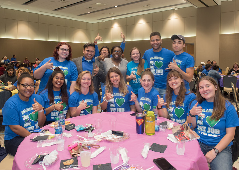 Student workers show off their best shakas during the Student Employee BASH Luncheon.