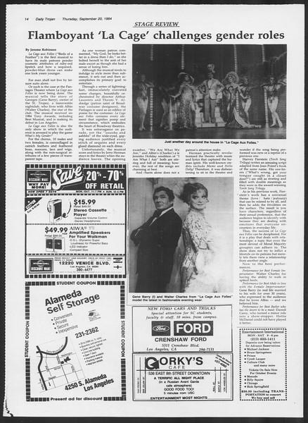 Daily Trojan, Vol. 97, No. 13, September 20, 1984