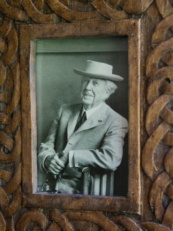 . Duncan Scott/DScott@News-Herald.com A portrait of architect Frank Lloyd Wright inside the Louis Penfield House in Willoughby Hills.