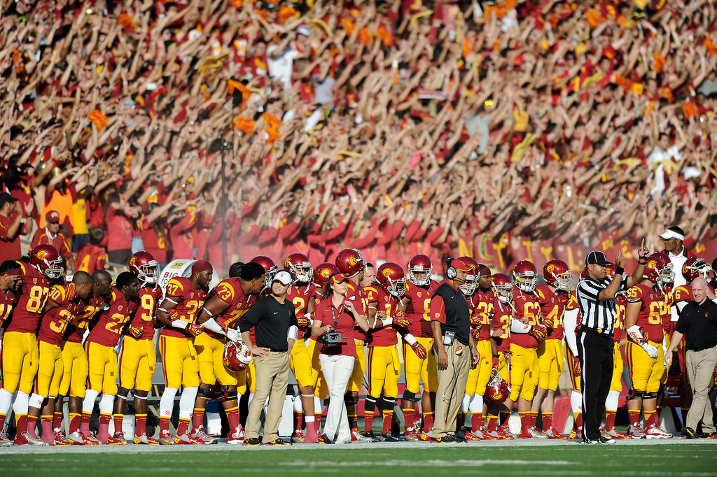 . USC players and fans get pumped up before their game against Oregon Saturday, November 3, 2012, at the L.A. Memorial Coliseum. (Michael Owen Baker/L.A. Daily News)