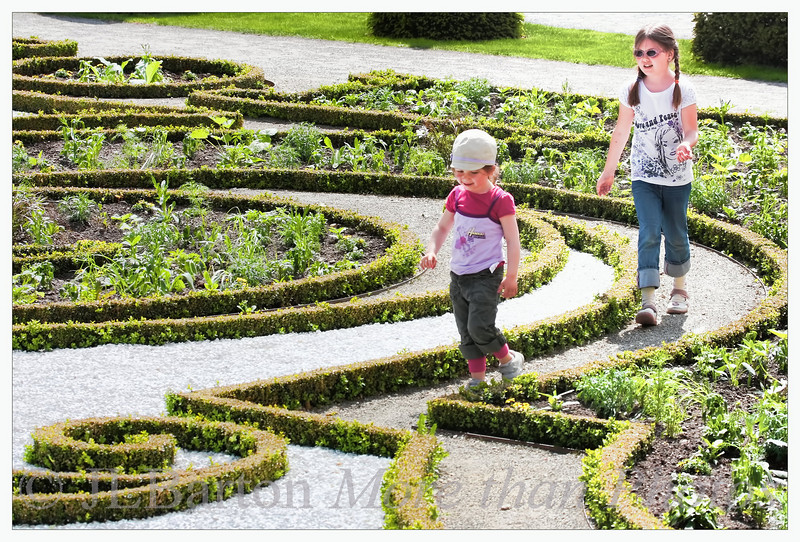 Garden Labyrinth Kitchen plants and flowers growing in a baroque design in one of the gardens at Schlosshof