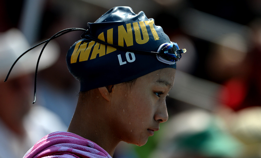 . Walnut\'s Theresa Lo during the Division 2 CIF Southern Section Swimming Championships in the Riverside Aquatics Complex at Riverside City College in Riverside, Calif., on Saturday, May 17, 2014.  (Keith Birmingham/Pasadena Star-News)