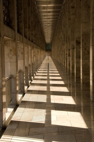 Sunlight beaming on an empty hallway inside National Mosque in Jakarta, Indonesia