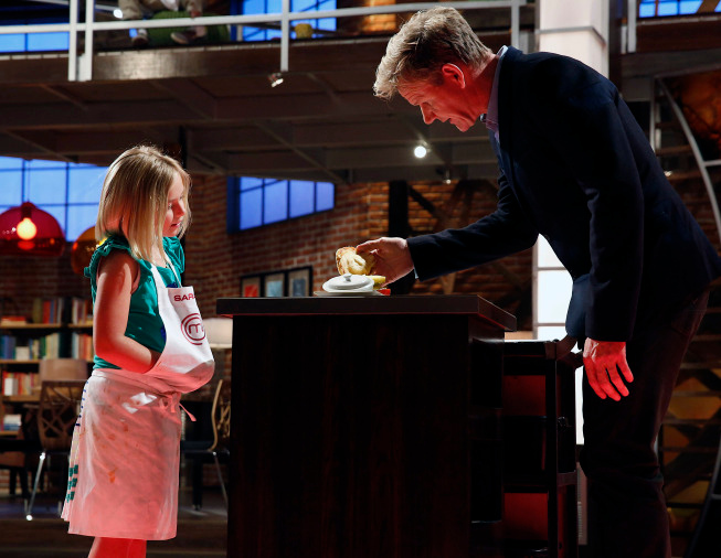 . Contestant Sarah and Judge Ramsay on MASTERCHEF JUNIOR airing Friday, Oct. 4 (8:00-9:00 PM ET/PT) on FOX. CR: Greg Gayne. © 2103 Copyright / FOX.