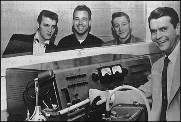 And here is Bill Black Jnr to the right of Elvis Presley at Sun Studios.Scotty Moore is next to Bill and Sam Phillips at the recording desk pictured February 3rd 1955