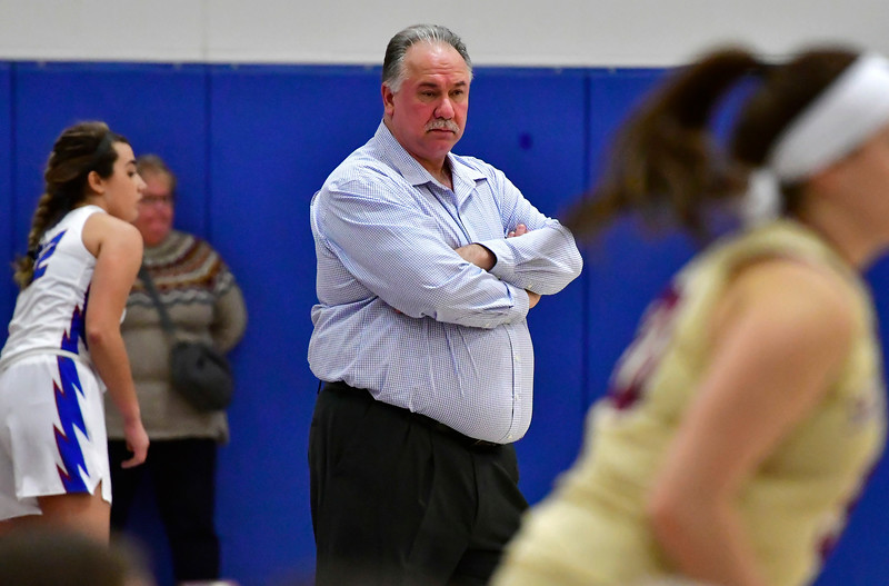 1/2/2019 Mike Orazzi | Staff St. Paul Catholic High School's Joe Mone  during Wednesday night's girls basketball game in Bristol.