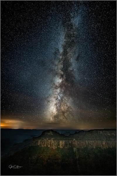 Bright Angel Point. Foreground light from lodge. 10 frame stack.