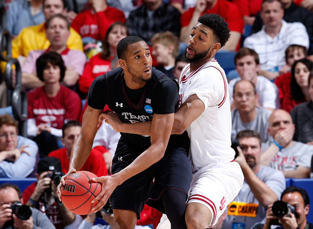 . Christian Watford #2 of the Indiana Hoosiers defends Rahlir Hollis-Jefferson #32 of the Temple Owls in the second half during the third round of the 2013 NCAA Men\'s Basketball Tournament at UD Arena on March 24, 2013 in Dayton, Ohio.  (Photo by Joe Robbins/Getty Images)