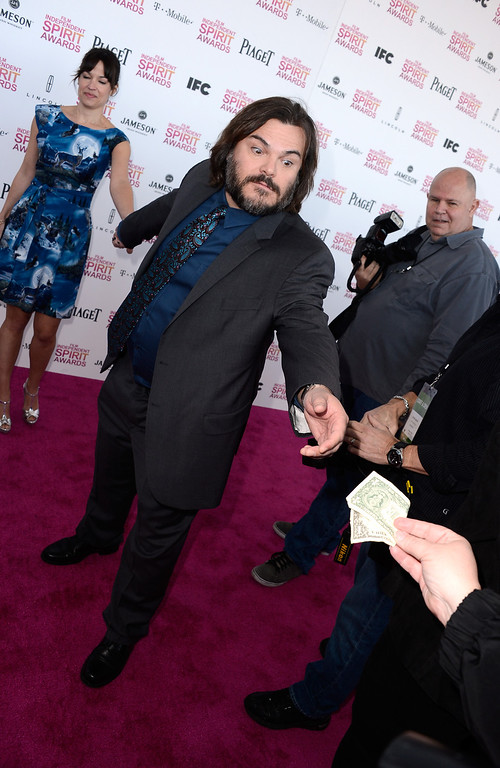 . SANTA MONICA, CA - FEBRUARY 23:  Actor Jack Black and musician Tanya Haden attend the 2013 Film Independent Spirit Awards at Santa Monica Beach on February 23, 2013 in Santa Monica, California.  (Photo by Frazer Harrison/Getty Images)