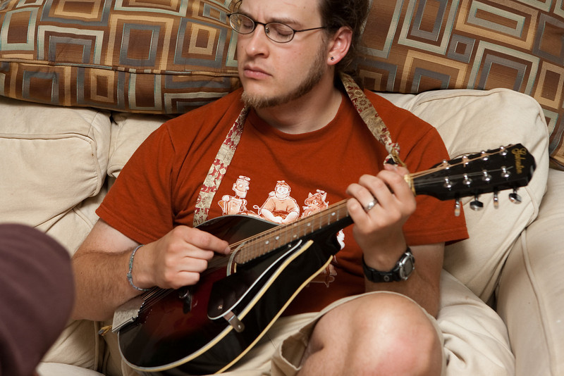 Claudia took this of me playing the mandolin.