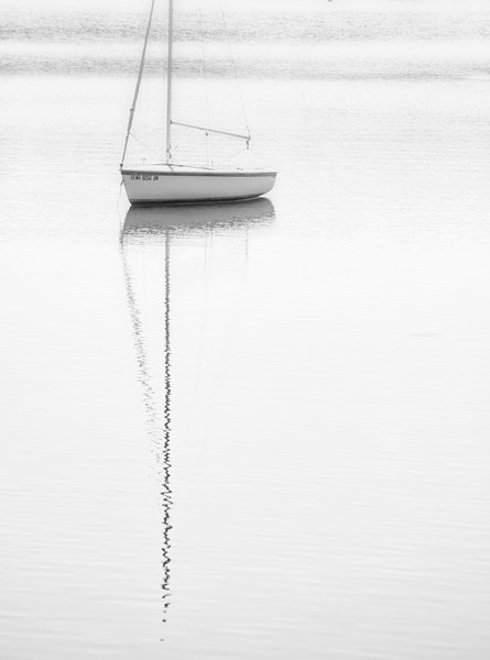 Maine Sailboat Reflection Vertical B&W.jpg