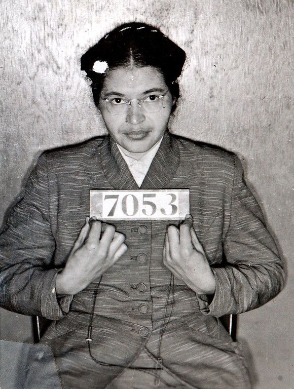 . A Montgomery (Ala.) Sheriff\'s Department booking photo of Rosa Parks taken Feb 22, 1956, after she was arrested for refusing to give up her seat on a bus for a white passenger on Dec. 1, 1955 in Montgomery, Ala.  (AP Photo/Montgomery County Sheriff\'s office)
