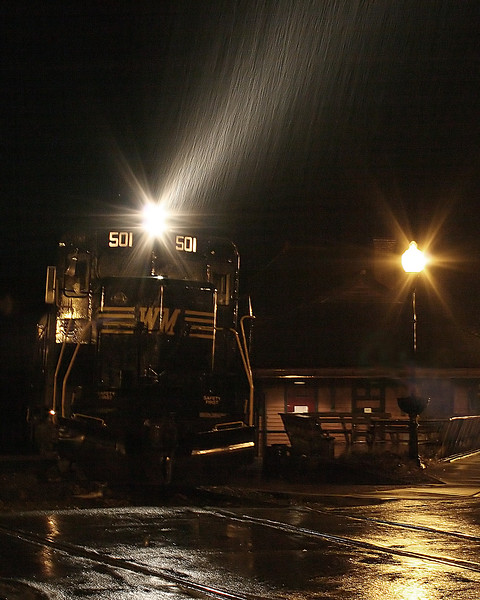 Diesel #501 passes through the heavy rain in Frostburg Western Maryland Scenic Railroad