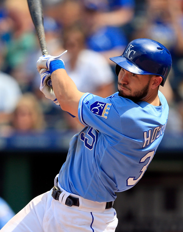 . Kansas City Royals\' Eric Hosmer hits an RBI single off Cleveland Indians relief pitcher Dan Otero during the seventh inning of a baseball game at Kauffman Stadium in Kansas City, Mo., Saturday, June 3, 2017. (AP Photo/Orlin Wagner)