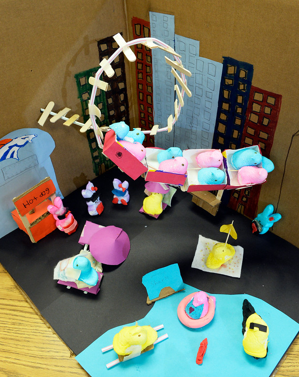 . 2nd place children\'s winner: Detail of Ms. Quinn Miller\'s 4th grade class at Lena Lovato Archuleta Elementary School in  Denver  Peeps second place creation  on Tuesday, April 8, 2014.  (Denver Post Photo by Cyrus McCrimmon)