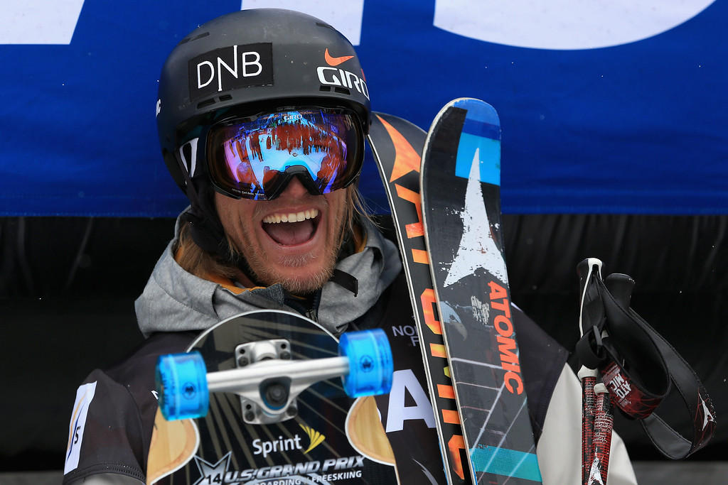 . Andreas Haatveit of Norway takes the podium after winning the men\'s FIS Slopestyle Ski World Cup at the U.S. Snowboarding and Freeskiing Grand Prix on December 21, 2013 in Copper Mountain, Colorado.  (Photo by Doug Pensinger/Getty Images)