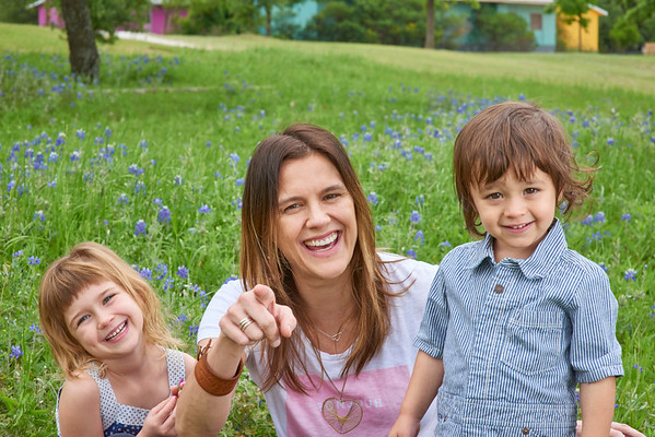 Erika and Kids in the Bluebonnets