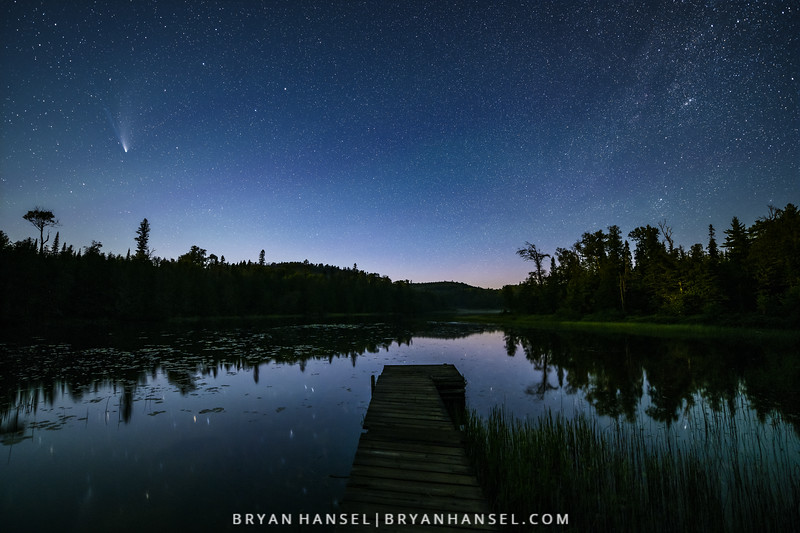 Comet NEOWISE over a Minnesota Dock