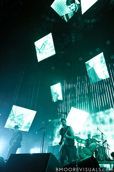 Ed O'Brien, Thom Yorke, and Phil Selway of Radiohead perform on February 29, 2012 at Tampa Bay Times Forum in Tampa, Florida