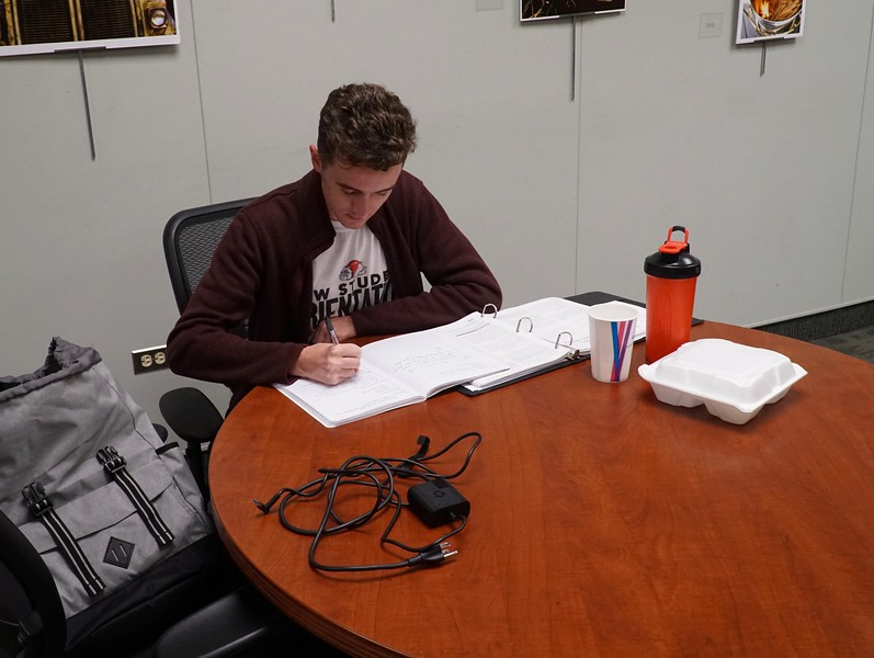 Student Gauge Tillman enjoys some quiet study time at the library