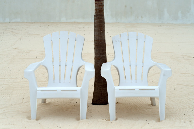 Two White Chairs - Playa del Carmen, Mexico - August 15, 2014