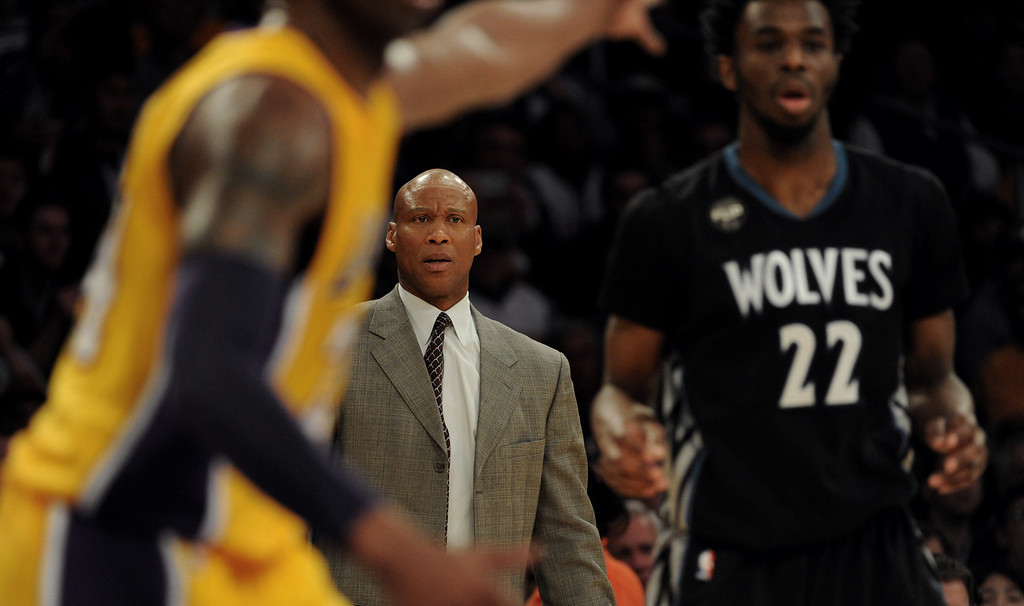 . Los Angeles Lakers head coach Byron Scott in the second half of a NBA basketball game against the Minnesota Timberwolves at Staples Center on Tuesday, Feb. 2, 2015 in Los Angeles.  Los Angeles Lakers won 119-115. (Photo by Keith Birmingham/ Pasadena Star-News)
