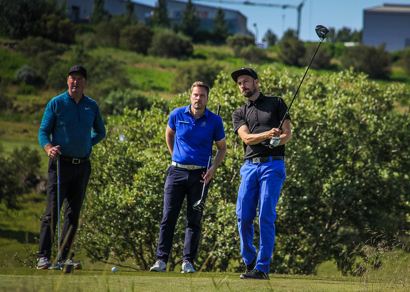 Þorlákur Halldórsson, Tómas Peter Salmon, Jóhann Már Sigurbjörnsson.  Íslandsmót golf 2019 Grafarholt - 1. keppnisdagur. Mynd: seth@golf.is