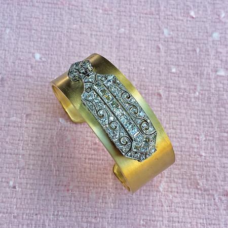 3.80ctw Art Deco Asscher and Old European Cut Diamond Brooch Cuff Conversion